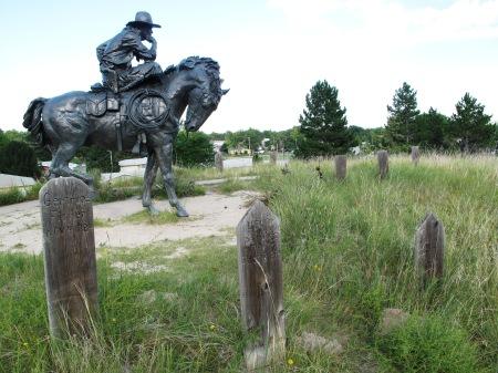 Cowboy statue in Boot Hill Cemetery, Ogallala, Nebraska