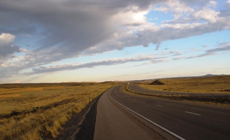 Empty I-80 in central Wyoming