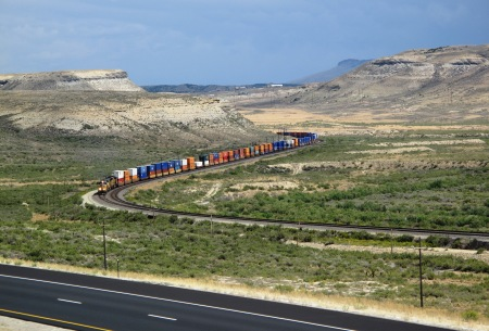 Union Pacific train outside Rock Springs, Wyoming