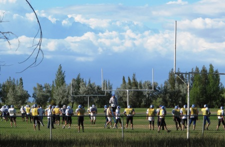 Lyman Eagles practice in Lyman, Wyoming
