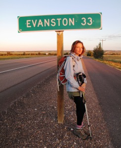 Sally by sign to Evanston, Wyoming