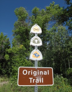 California Trail and Mormon Trail markers in Wasatch Mountains
