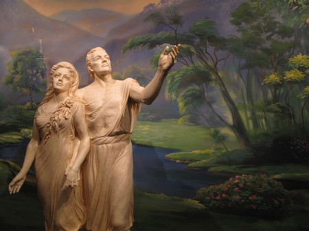 Adam and Eve statues in Salt Lake Temple