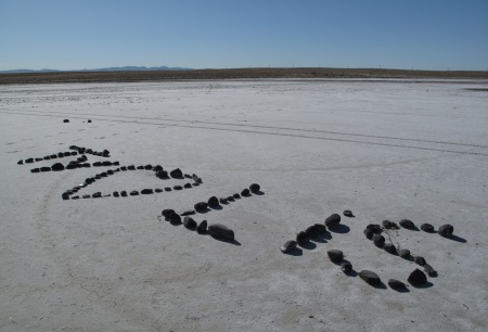 Graffiti on the Bonneville Salt Flats in Utah