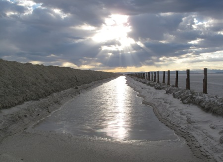 Brine canal on Bonneville Salt Flats, Utah