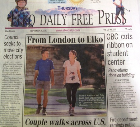 Elko Daily Free Press front cover